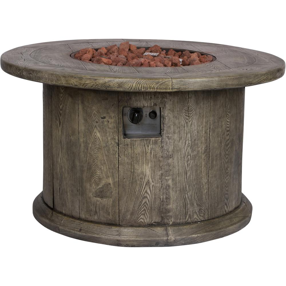 Shine Company Merida 40 in. Dia Round Magnesium Outdoor Propane Gas Fire Pit Table in Grey with Lava Rock