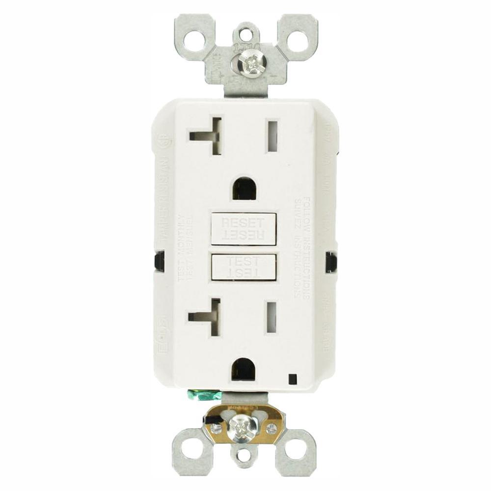 20 Amp Outlet >> Leviton 20 Amp Self Test Smartlockpro Slim Duplex Tamper Resistant Gfci Outlet White 3 Pack