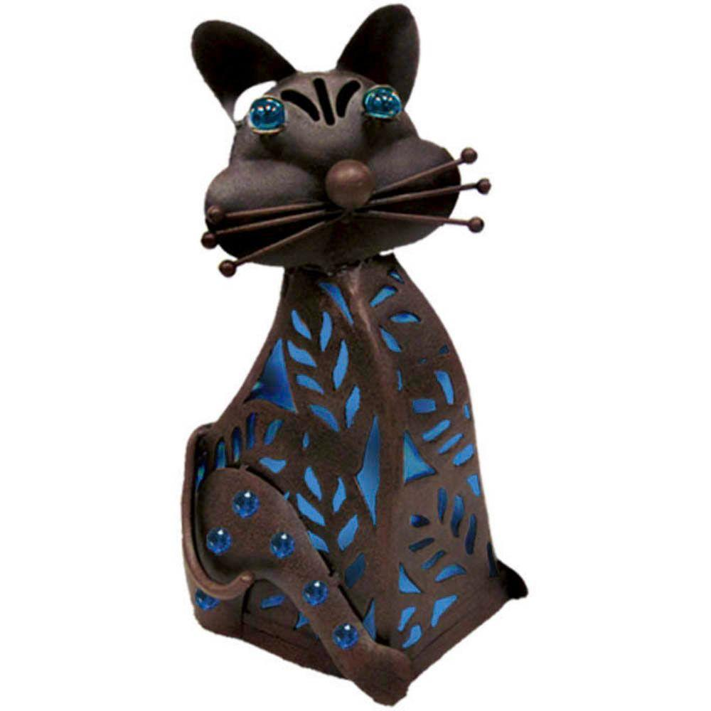 null 15 in. Solar Sitting Cat with Blue Light-DISCONTINUED