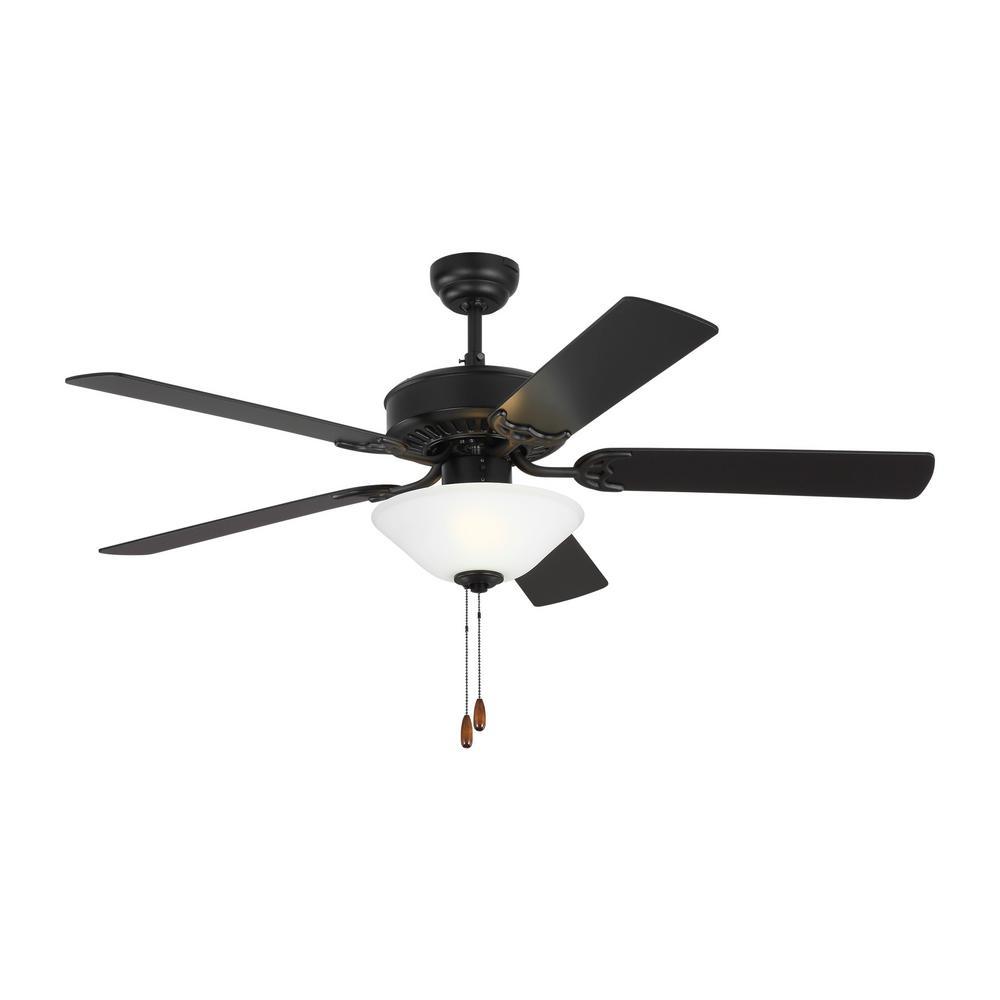 Haven LED 2 52 in. Indoor Matte Black Ceiling Fan with Light Kit