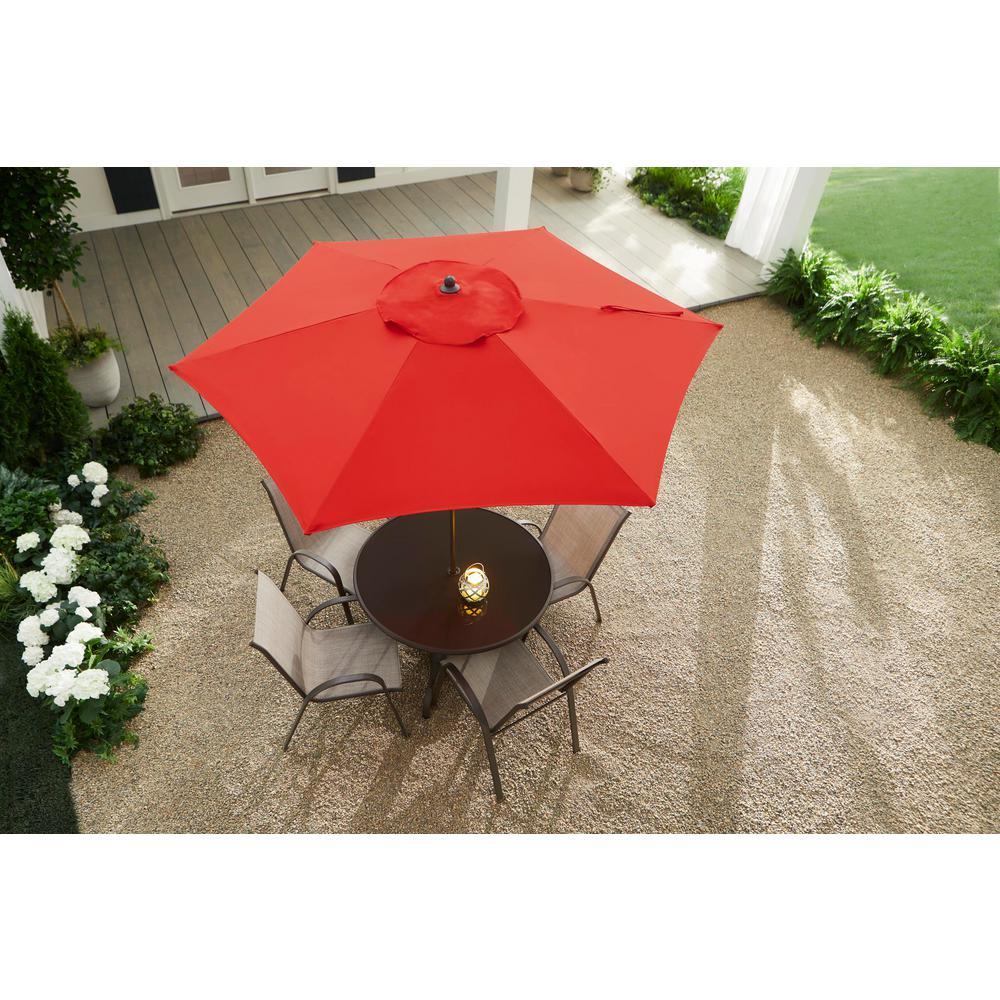 7.5 ft. Steel Market Outdoor Patio Umbrella in Ruby Red