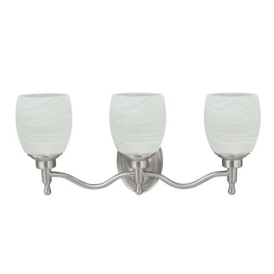 3-Light Brushed Nickel Vanity Light with Alabaster Glass Shade