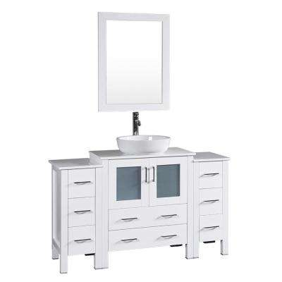 54 in. W Single Bath Vanity in White with Pheonix Stone Vanity Top with White Basin and Mirror