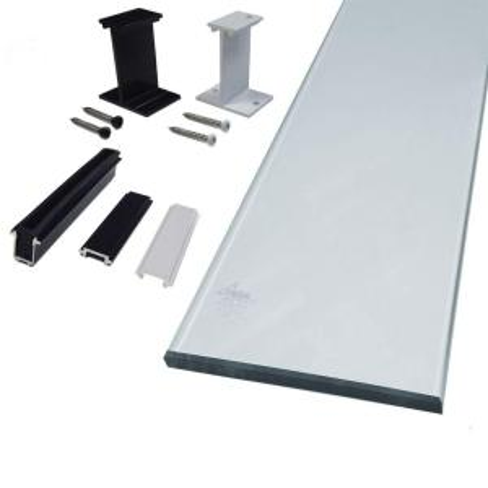 peak aluminum railing 6 in clear glass panel kit50710 the home depot