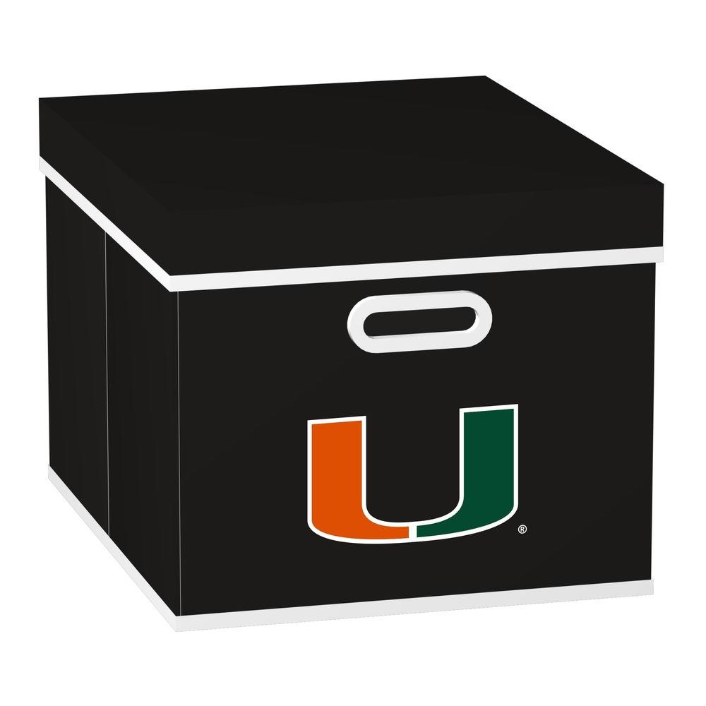 MyOwnersBox College STACKITS University of Miami 12 in. x 10 in. x 15 in. Stackable Black Fabric Storage Cube