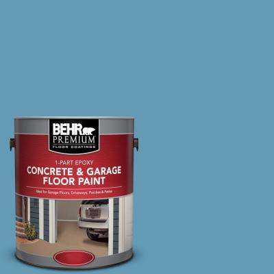 1 gal. #S490-4 Yacht Blue 1-Part Epoxy Satin Interior/Exterior Concrete and Garage Floor Paint