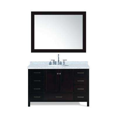 Cambridge 55 in. Bath Vanity in Espresso with Marble Vanity Top in Carrara White with White Basin and Mirror