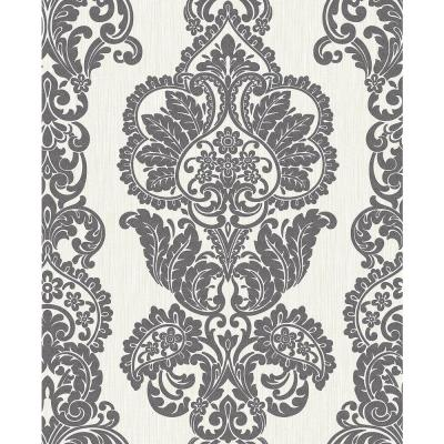56.4 sq. ft. Rochester Charcoal Damask Wallpaper