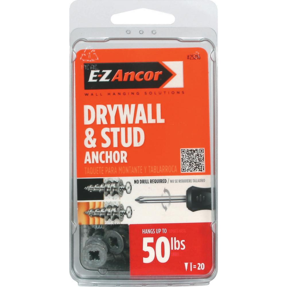 E-Z Ancor Stud Solver #7 x 1-1/4 in. Phillips Zinc-Plated Alloy Flat-Head Anchors with Screws (20-Pack)