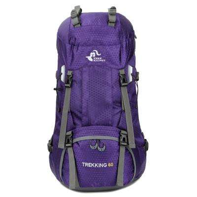 FK0395 60 l 13 in. Purple Waterproof Foldable Backpack Camping Bag with Rain Cover