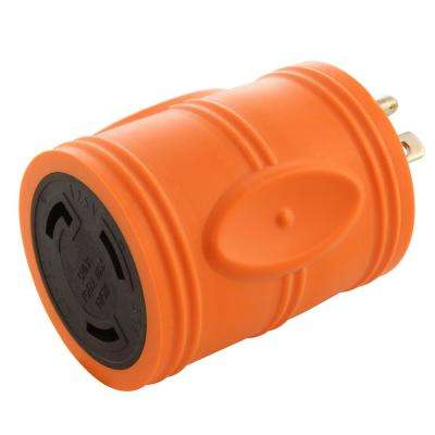 RV/Marine/Industrial Locking Adapter Regular Household 15 Amp Plug to Locking L5-30R 30 Amp 125-Volt Female Connector