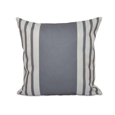 16 in. x 16 in. Big and Bold Stripe Decorative Pillow in Gray