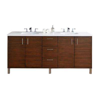 Metropolitan 72 in. W Double Vanity in American Walnut with Quartz Vanity Top in White with White Basin