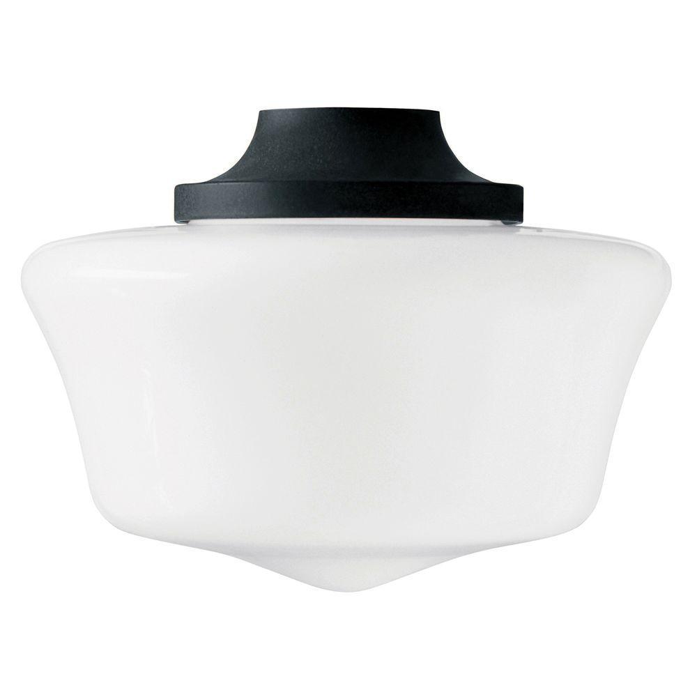 Hunter 1-Light Antique Black Original Schoolhouse Globe Ceiling Fan Light Kit-DISCONTINUED