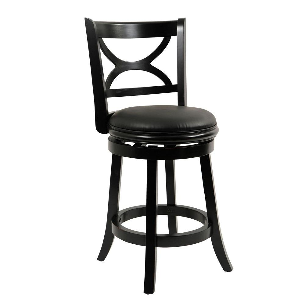 Boraam Florence 24 in. Black Swivel Cushioned Bar Stool-45724 - The ...