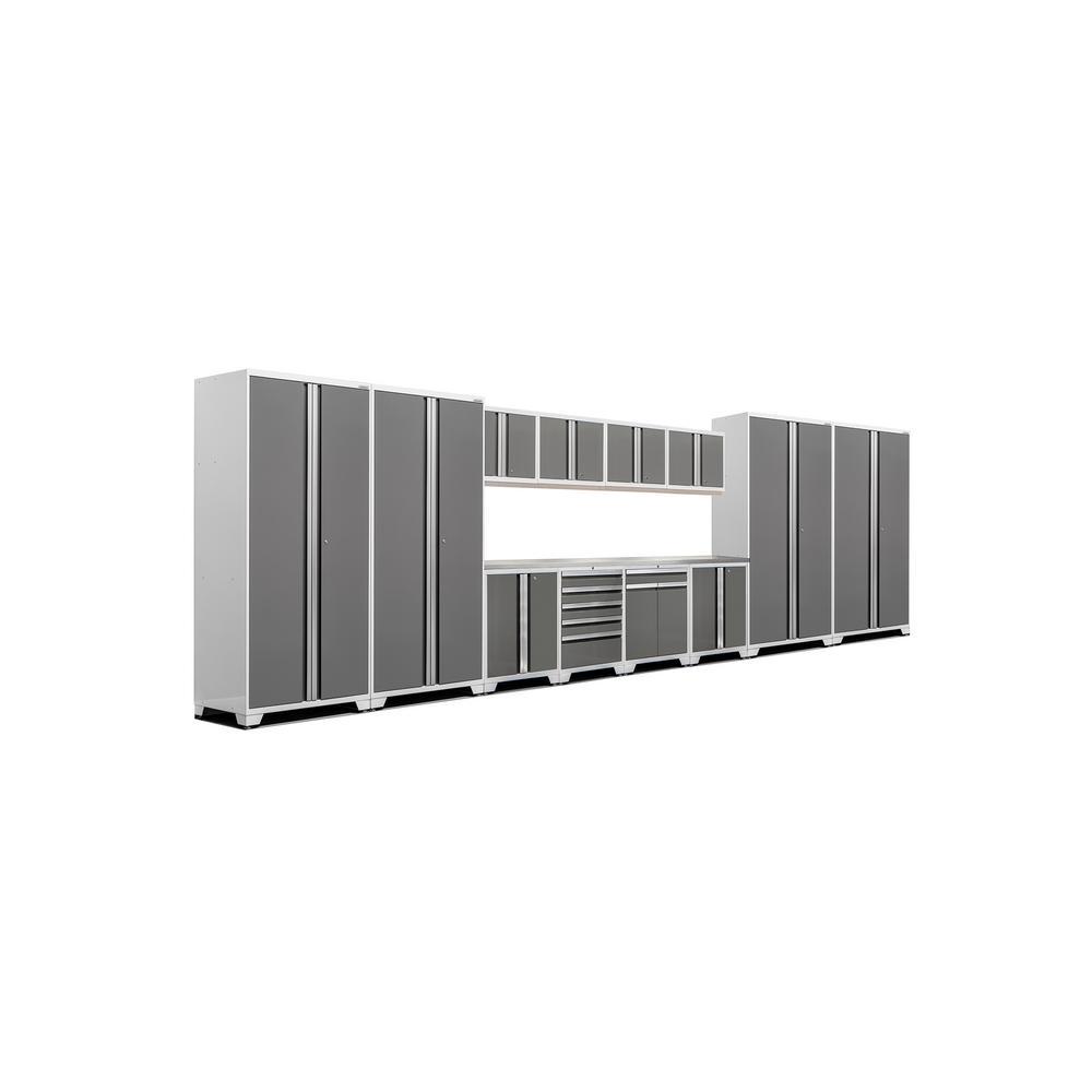 Pro 3 Series 85 in. H x 256 in. W x 24 in. D 18-Gauge Welded Stainless Steel Worktop Cabinet Set in Platinum (14-Piece)