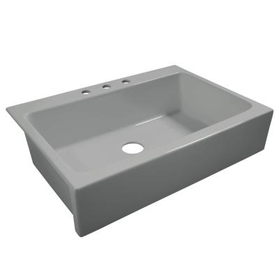 Josephine All-in-One Fireclay Quick-Fit 33.85 in. 3-Hole Single Bowl Farmhouse Kitchen Sink in Rainy Day Gloss Gray