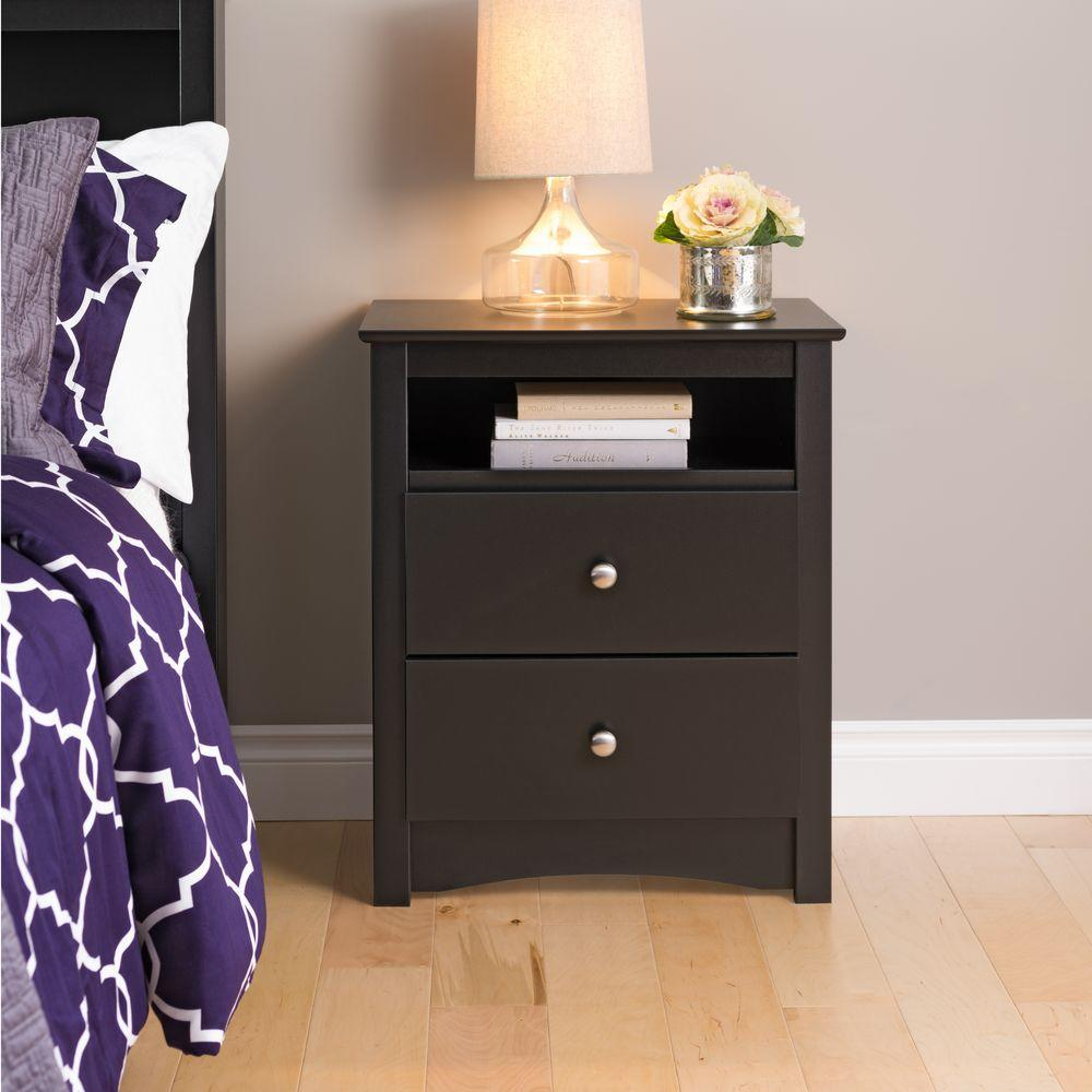 Merveilleux Prepac Sonoma 2 Drawer Black Nightstand