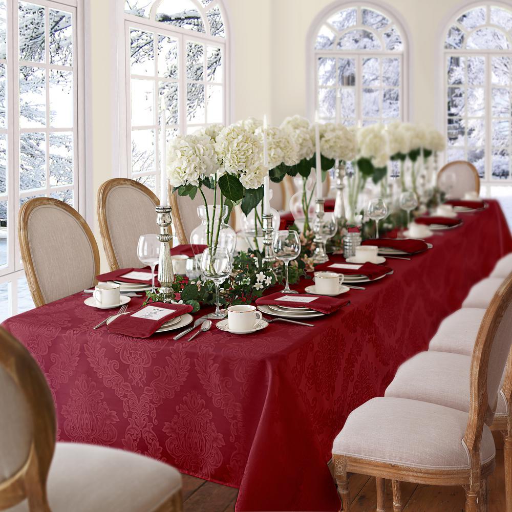60 in. W x 102 in. L Burgundy Elrene Barcelona Damask Fabric Tablecloth