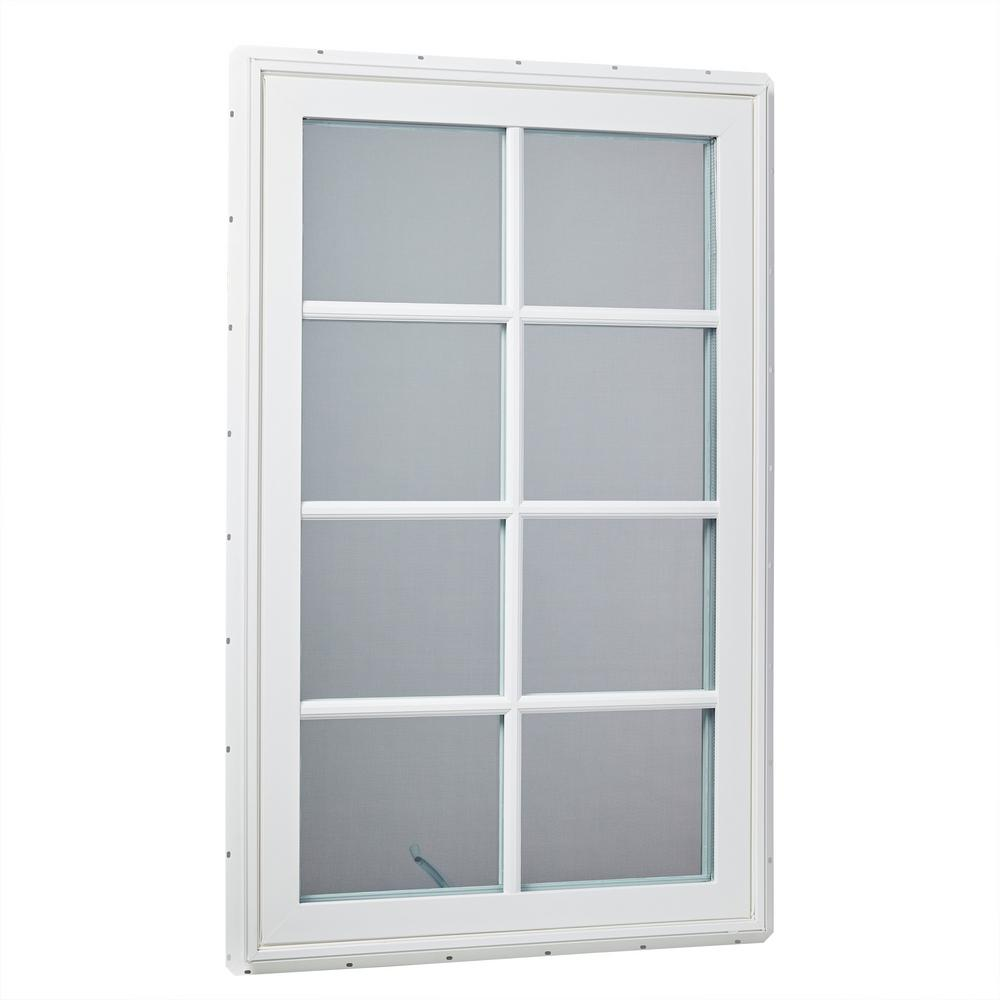 Right Hand Vinyl Cat Window With Sdl Outside Grids And Screen White