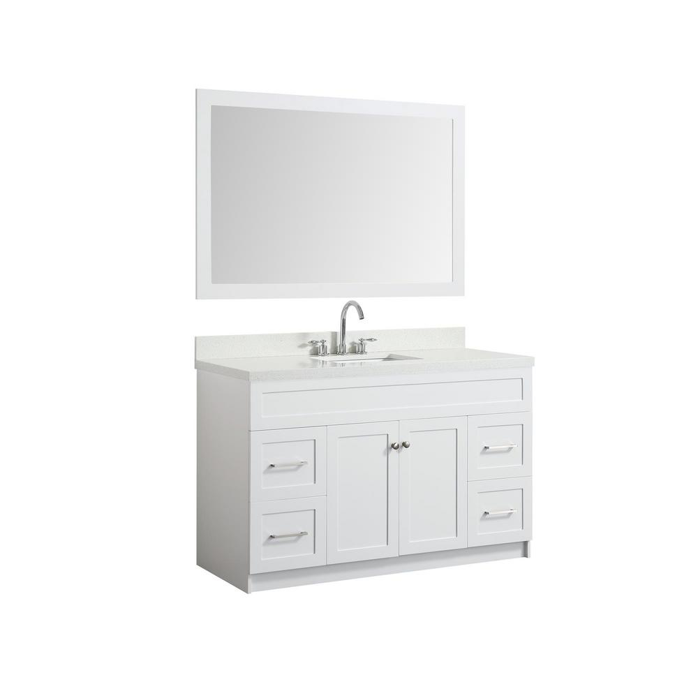 Ariel 55 In Bath Vanity In White With Quartz Vanity Top In White With White Basin And Mirror