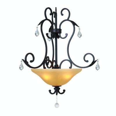 Vantage Collection 3-Light Sierra Slate Pendant with Amber Glass Shade