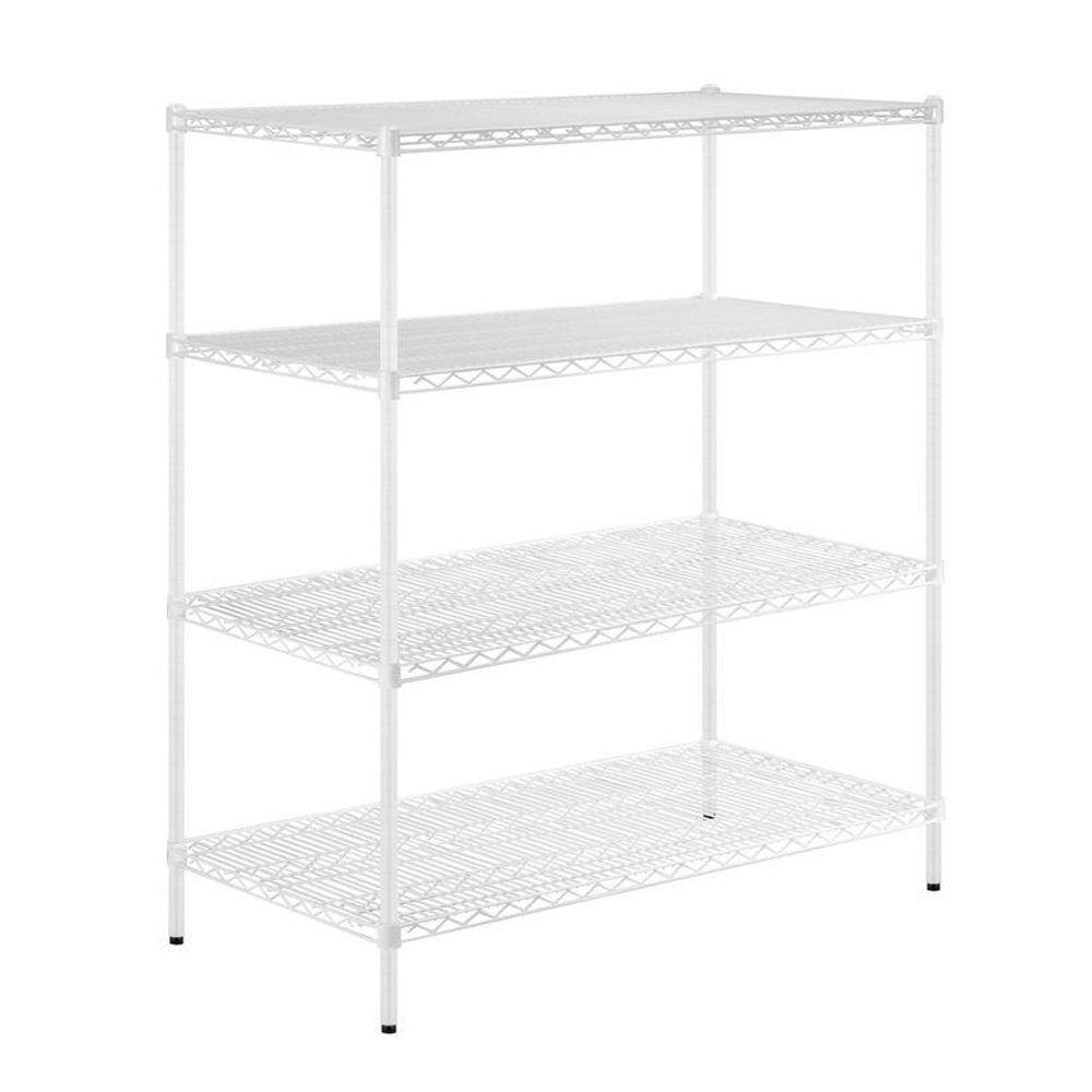 D 4-Shelf Steel Shelving Unit in White-SHFX02448 - The Home Depot