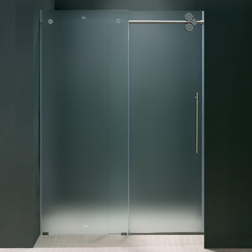 Vigo 72 in. x 74 in. Frameless Bypass Shower Door in Chrome with Frosted Glass