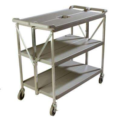 350 lb. Grey Large Fold 'N Go Heavy-Duty 3-Tier Collapsible Utility Cart and Portable Service Transport