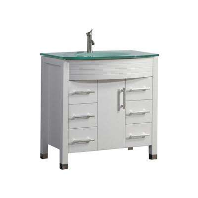 Fort 48 in. W x 22 in. D x 36 in. H Bath Vanity in White with Aqua Tempered Glass Vanity Top with Glass Basin