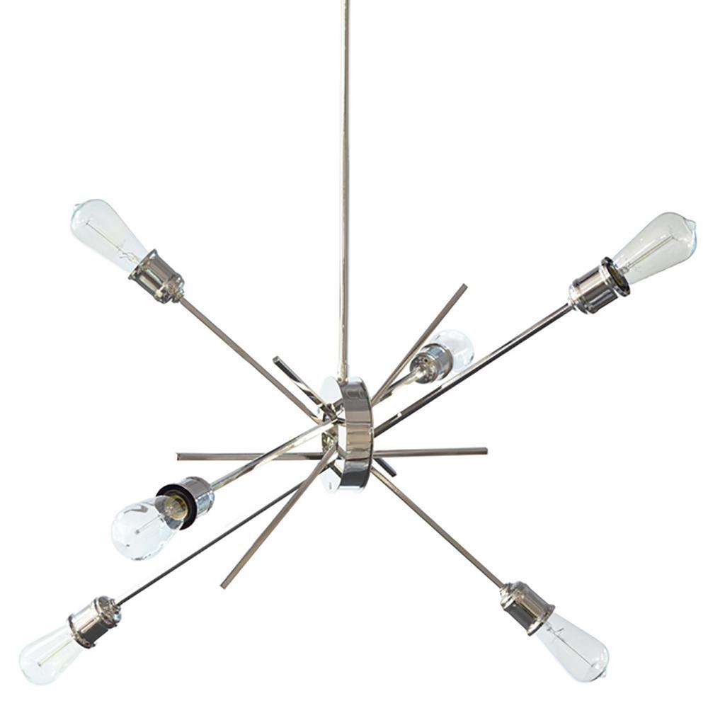 6-Light Polished Chrome Chandelier