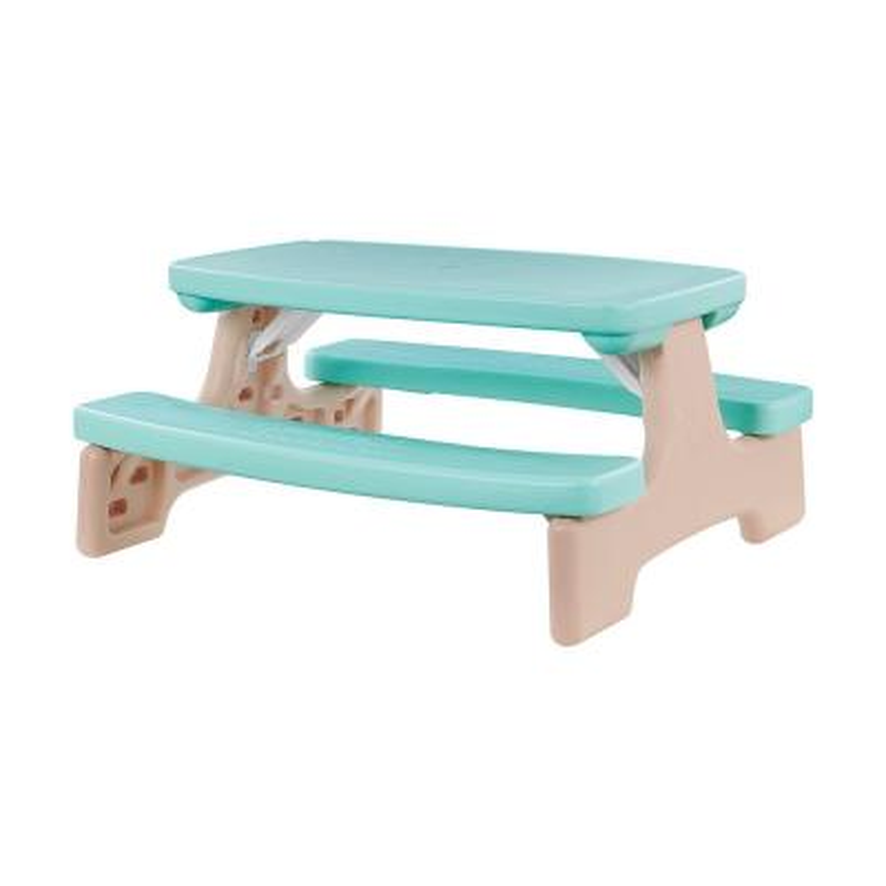 Kids Modern Aqua Blue Rectangular Plastic Picnic Outdoor Bench Table Set in