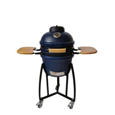 Deluxe Kamado Charcoal Grill in Blue with Starter, Cover, Cart and Side Shelves