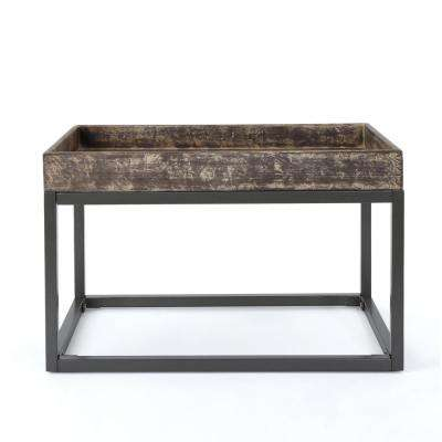 Homer Rustic Brown Faux Wood Coffee Table with Black Iron Frame