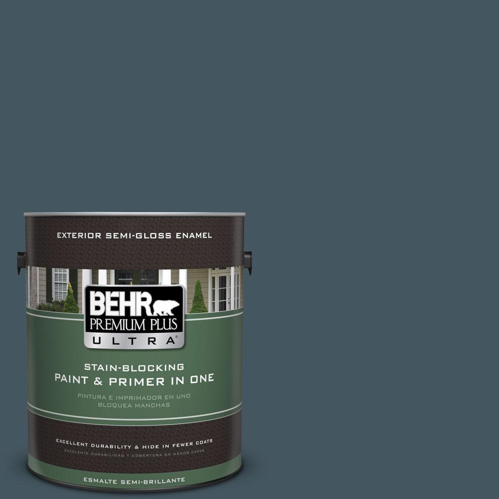 BEHR Premium Plus Ultra 1-gal. #ECC-35-3 Thunder Bay Semi-Gloss Enamel Exterior Paint