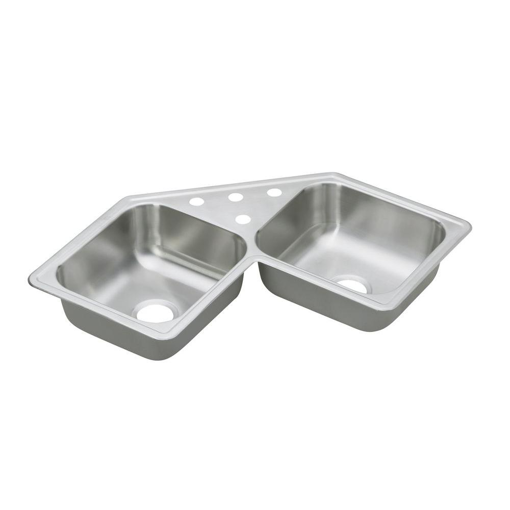 Dayton Drop-In Stainless Steel 32 in. 4-Hole Double Bowl Kitchen Sink