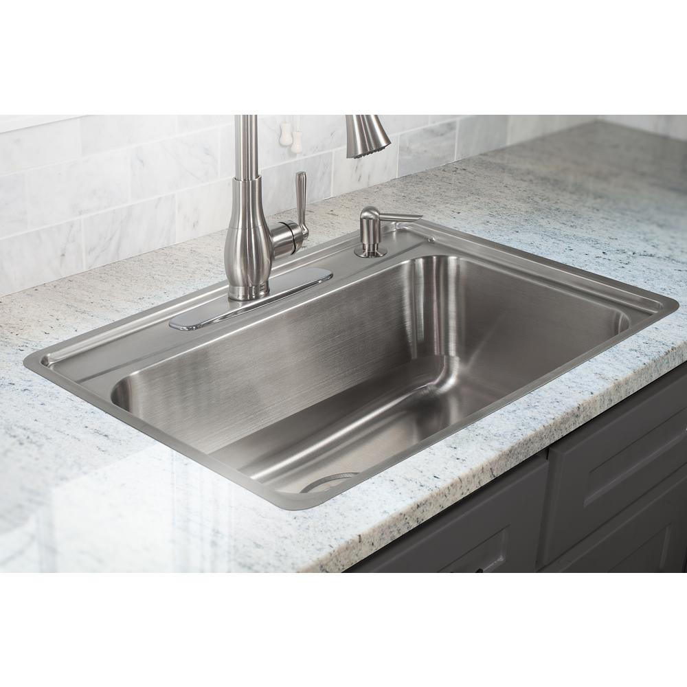 Franke Evolution Fast-in Mount Drop-In Stainless Steel 25.5 in. 4-Hole  Single Bowl Kitchen Sink in Satin Stainless Steel