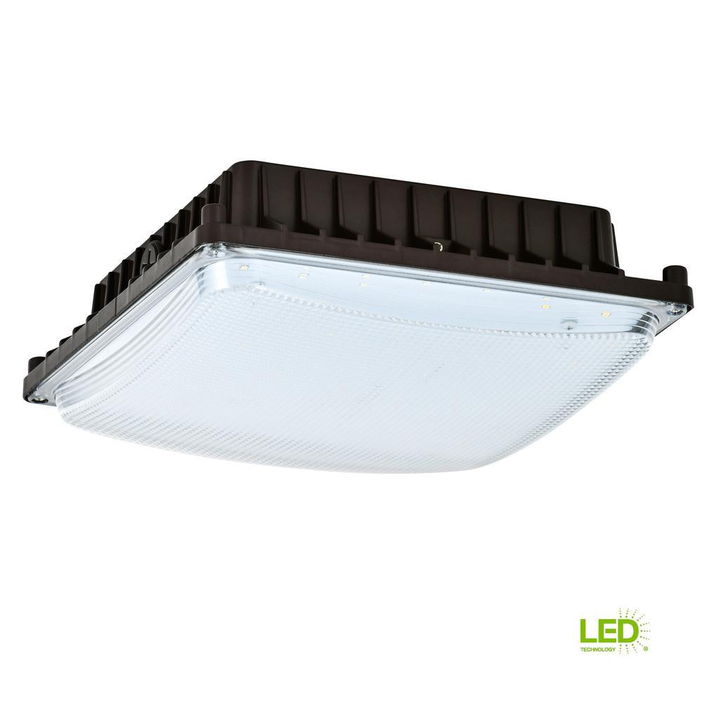 50-Watt Bronze Indoor/Outdoor Integrated LED Area Light Ceiling/Wall Mountable
