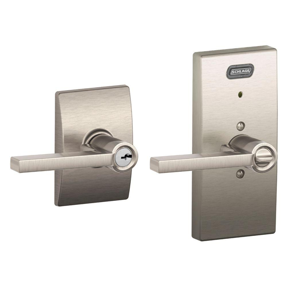 Schlage Century Collection Latitude Satin Nickel Keyed Entry Lever with Built-In Alarm