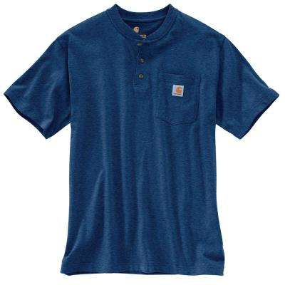 Men's Regular X Large Dark Cobalt Blue Heather Cotton/Polyester Short-Sleeve T-Shirt