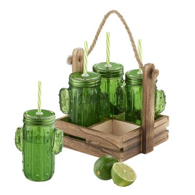 Cactus 15 oz. Caddy Sipper Set