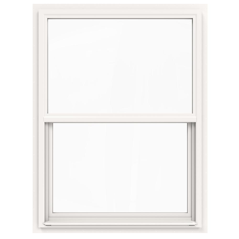 36 in. x 48 in. V-4500 Series White Single-Hung Vinyl Window with Fiberglass Mesh Screen