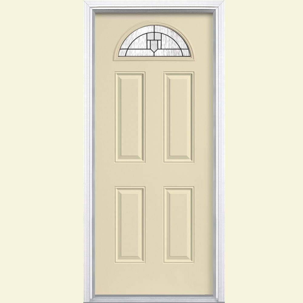 Masonite Glendale Fan Lite Painted Smooth Fiberglass Prehung Front Door with Brickmold-DISCONTINUED