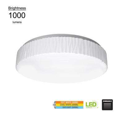 Glacier Puff Style 11 in. White 75 Watt Equivalent Integrated LED Flushmount with Color Temperature Changing Feature