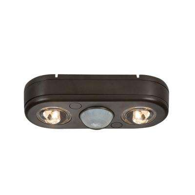 Revolve 180-Degree Bronze Motion Activated Outdoor Integrated LED Twin Head Security Flood Light, 5000K Daylight