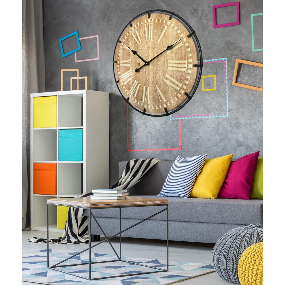Oversized Roman 24 in. Light Wood Round Wall Clock