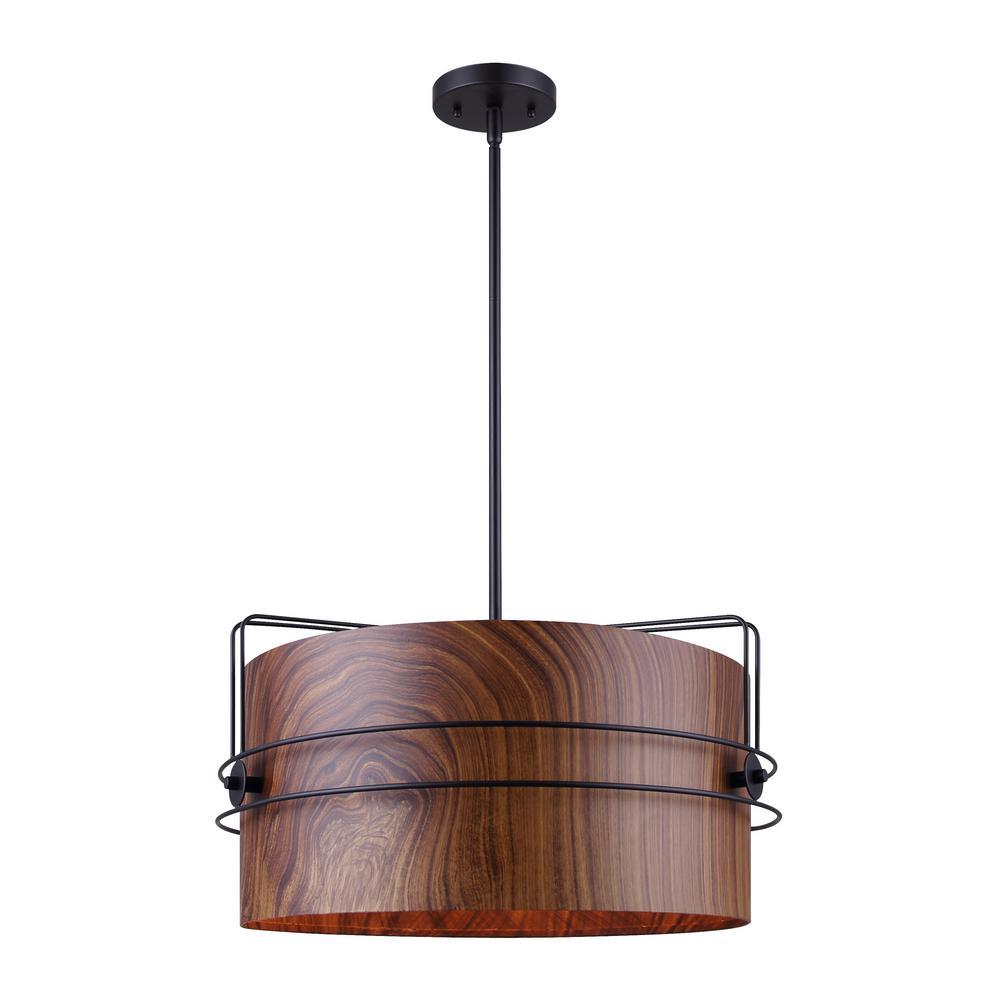 CANARM Silas 3-Light Faux Wood and Matte Black Chandelier