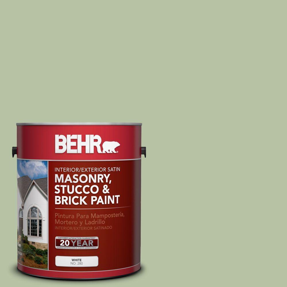 1-gal. #MS-57 Soft Green Satin Interior/Exterior Masonry, Stucco and Brick Paint