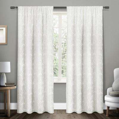Damask Winter White Chenille Heavyweight Jacquard Medallion Rod Pocket Top Window Curtain