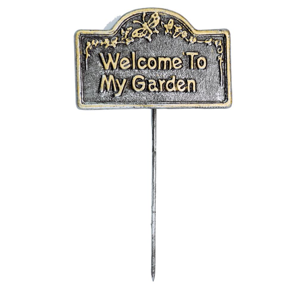 Garden Marker Welcome To My Garden Sign The Oakland Garden Sign Markers Collection combines style and modern design, giving you a rich addition to any outdoor setting. Functional yet practical, these garden sign markers will liven up any flower garden, vegetable garden, or herb garden for and your loves. Each piece is hand cast and finished for the highest quality possible. Our garden sign markers are a perfect accent for any back yard patio or different gardens setting. Constructed of rust free cast aluminum. Our garden sign markers feature a hardened powder coat finish for years of beauty.